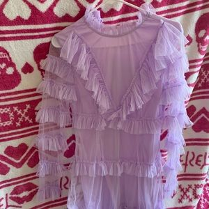 Lilac Mesh Tull Long Sleeve Bodycon Dress